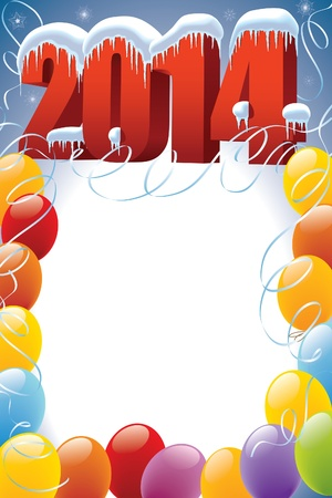 New Year 2014 with balloons frame decoration ready for your message  Vector