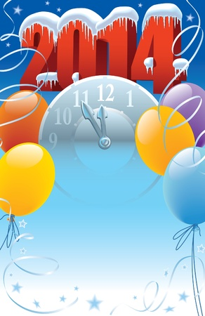 New Year 2014 with clock and balloons decoration  Vector