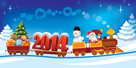 New Year 2014 and Santa Claus in a toy train with gifts, snowman and christmas tree.   Vector