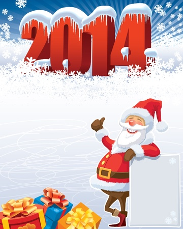 New Year and santa with gifts, christmas decoration ready for your message  Vector