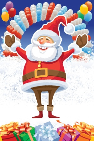 Santa Claus posing with raised arms on white winter background with balloons and gifts. Stock Vector - 22126033