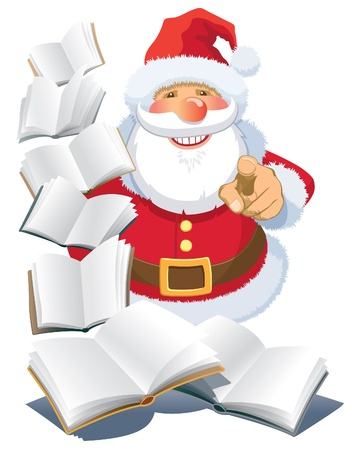 guidebook: Santa Claus standing with flying open books over abstract white background.