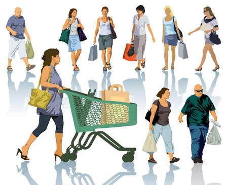 emberek: Állítsa be az emberek sziluettek. Kellemes vásárlást ember gazdaság táskák termékek. Illusztráció