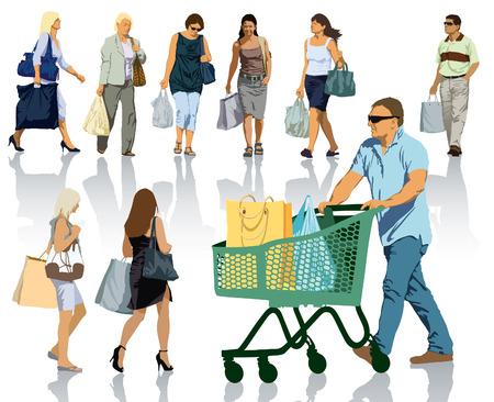 grupo de pessoas: Conjunto de silhuetas de pessoas. Povos felizes da compra com sacos com os produtos.