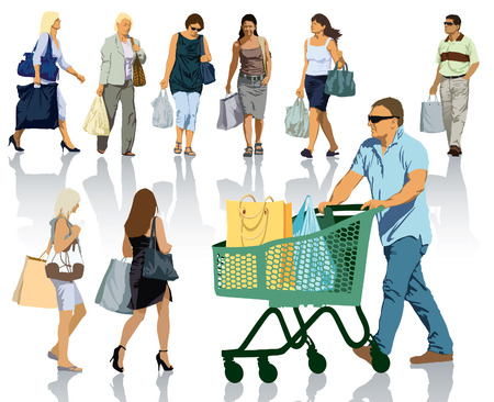 gruppe von menschen: Reihe von Menschen Silhouetten. Happy shopping Menschen mit Taschen mit Produkten. Illustration