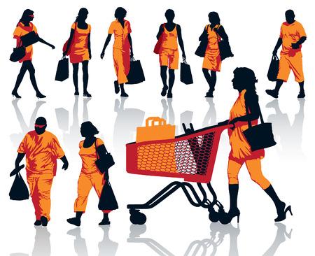 mujer en el supermercado: Conjunto de siluetas de personas. La gente feliz de las compras con sus bolsas con los productos.