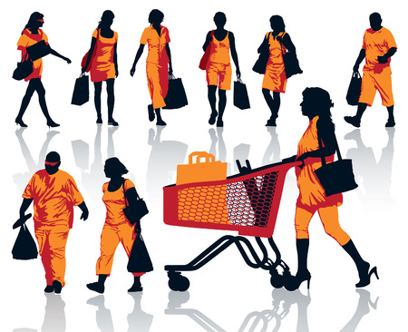 people walking white background: Set of people silhouettes. Happy shopping people holding bags with products.