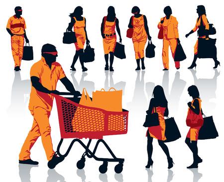 Conjunto de siluetas de personas. La gente feliz de las compras con sus bolsas con los productos. Foto de archivo - 23286746