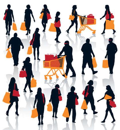 fashion shopping: Conjunto de siluetas de personas. La gente feliz de las compras con sus bolsas con los productos.