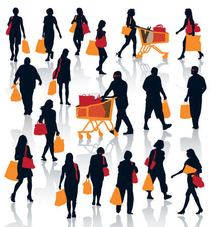red retail: Set of people silhouettes. Happy shopping people holding bags with products.