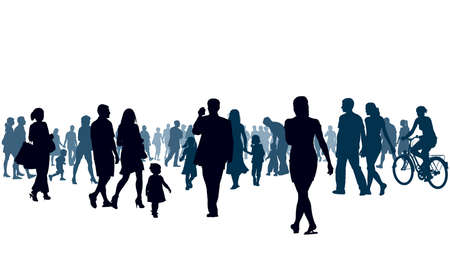 personnes qui marchent: Foule de personnes marchant. Les gens vont � la lumi�re. Illustration