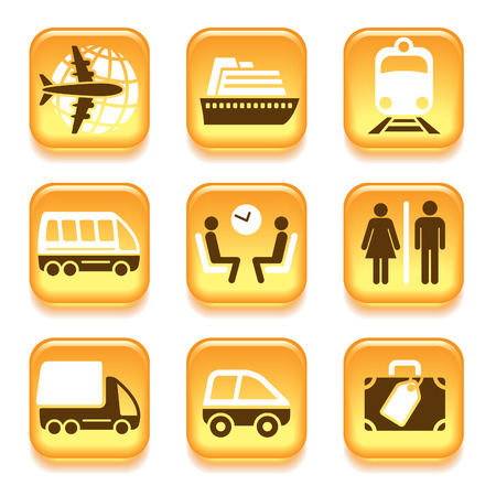 Colorful travel icons set over white background Vector