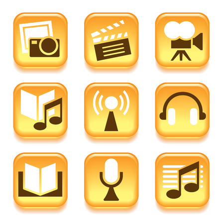Entertainment icons set over white background  Vector