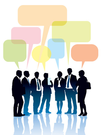 Group of businesspeople standing and talking together  Vector