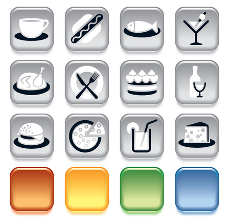 lunch meal: Collection of colorful food icons over white background