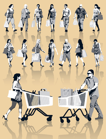Set of people silhouettes. Happy shopping people holding bags with products. EPS 10. Vector