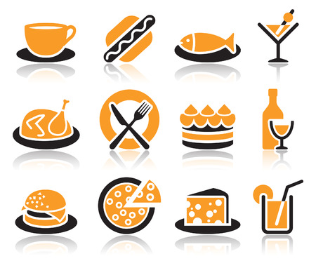 Collection of color food icons over white background  Vector