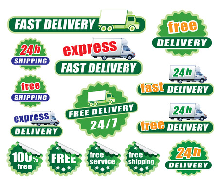 Set of green delivery signs with trucks and labels Vector