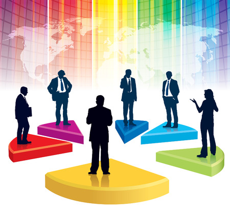 Businesspeople are standing on a large broken graph, the colorful background with world map Vector