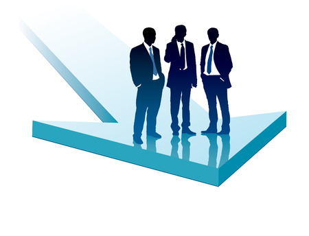 Group of businesspeople standing on a large blue arrow Vector
