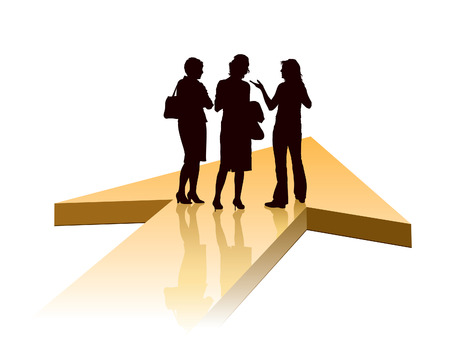 new direction: Group of businesswomen standing on a large orange arrow