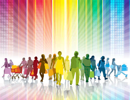 Multitud de personas de compras en una ciudad de colores Vectores