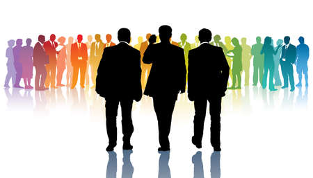 Three black businessmen going towards a crowd of colorful people Vector