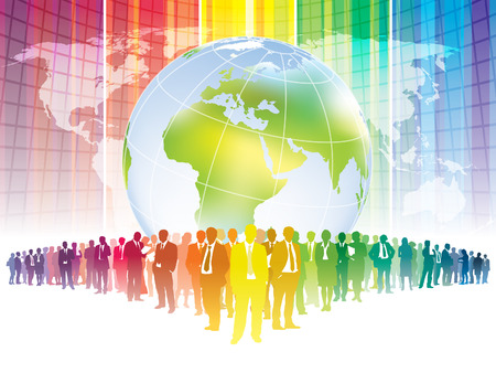 Colorful businesspeople are standing in front of large world map Vector