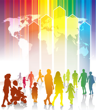new direction: Crowd of people going to meet new better world