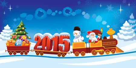 New Year 2015 and Santa Claus in a toy train with gifts, snowman and christmas tree.