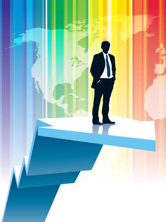 aloft: Successful businessman is standing on a large rising graph Illustration