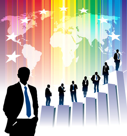 black man white woman: Successful people are standing on a large graph, world map in the background. Illustration