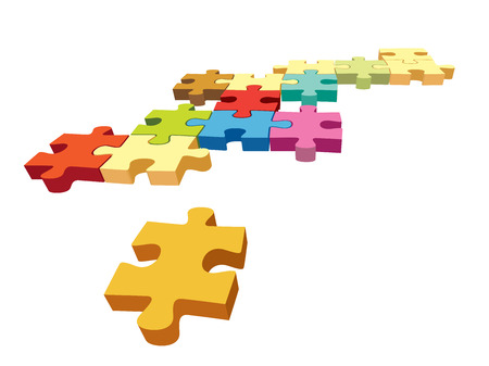 brain teaser: Several colorful pieces of jigsaw puzzle over a white background.