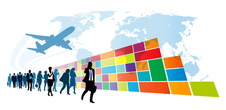 Crowd of walking people in front of colorful wall in windows metro style. Vector