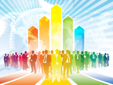 aloft: Colorful businesspeople are standing in front of a large rising graph Illustration