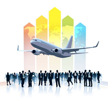 Crowd of businesspeople standing, flying airplane and a large colorful chart with world map in the background Vector