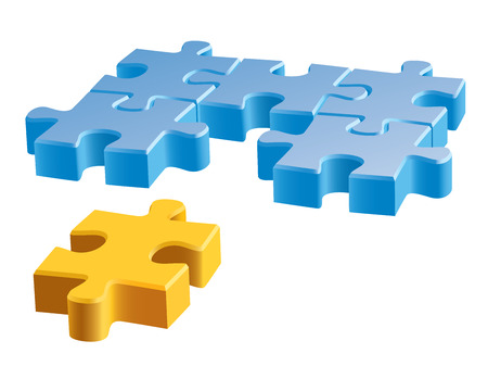 brain puzzle: Several colorful pieces of jigsaw puzzle over a white background.