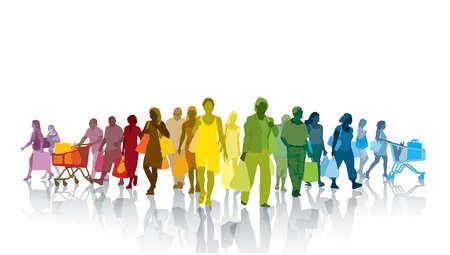 chicas compras: Muchedumbre colorida de gente de compras. La gente feliz con sus bolsas de compras