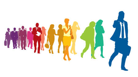 red and white: Crowd of colorful walking people over a white background. Illustration