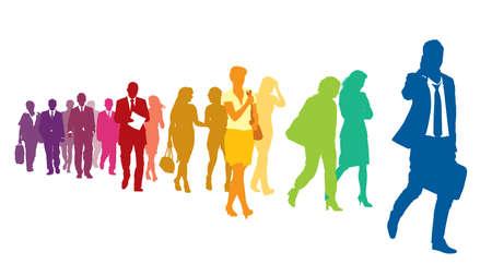 Multidão de pessoas andando coloridas sobre um fundo branco.