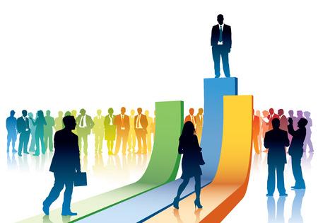 hombres ejecutivos: La gente se va a tomar su posici�n en una gran tabla Vectores