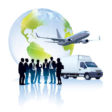 Group of successful people are standing in front of delivery truck, commercial airplane and world globe Vector