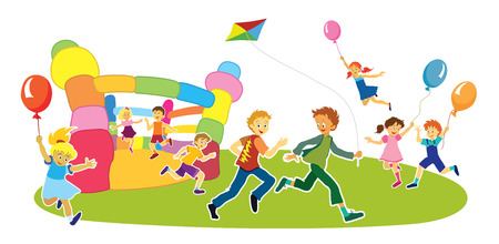 Children with smiling faces are playing, jumping and running,