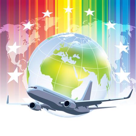 Large commercial passenger airplane flying over world globe Vector