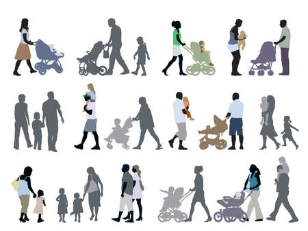 stroller: A set of parents and children silhouettes