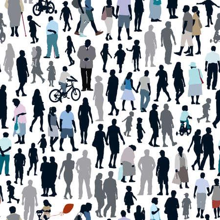 ancianos caminando: Multitud de personas, patrón con los hombres, las mujeres y los niños siluetas. Vectores