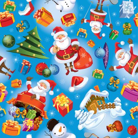 Kerst patroon met Santa Claus, geschenken, kerstballen en boom.