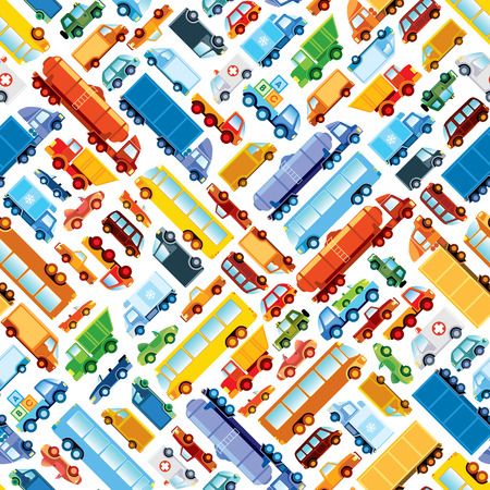 roadster: Toy car pattern, collection of various funny toy cars. Illustration