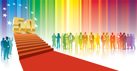 50 years jubilee: Colorful crowd of businesspeople celebrating fiftieth anniversary Illustration