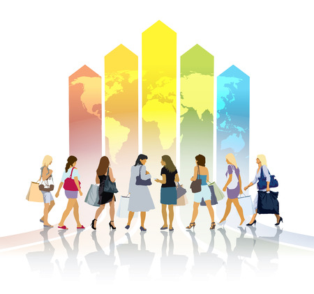 Group of women with shopping bags going to a large colorful chart Vector